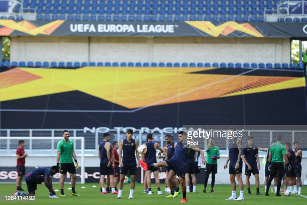 Diego Perotti of Roma trains during an AS Roma Training Session And Press Conference at MSV Arena on August 05 2020 in Duisburg Germany