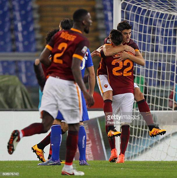 Diego Perotti with his teammate Stephan El Shaarawy of AS Roma celebrates after scoring the team's second goal during the Serie A match between AS...