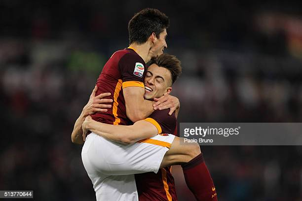 Diego Perotti with his teammate Stephan El Shaarawy of AS Roma celebrates after scoring the team's third goal during the Serie A match between AS...