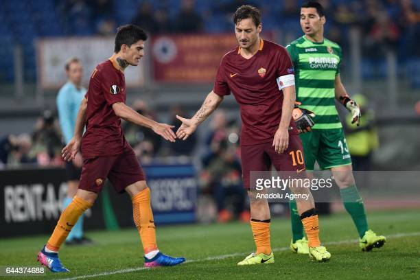 Diego Perrotti and Francesco Totti of AS Roma gesture during the UEFA Europa League soccer match between AS Roma and Villarreal FC at Stadio Olimpico...