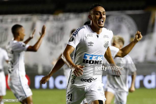 Diego Pituca of Santos celebrates after scoring the first goal of his team during a semifinal second leg match between Santos and Boca Juniors as...