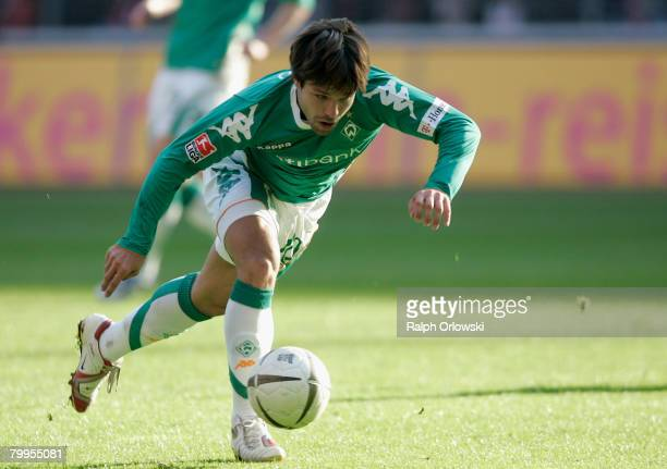 Diego plays a ball during the Bundesliga match between Eintracht Frankfurt and Werder Bremen at the Commerzbank Arena on February 23 2008 in...