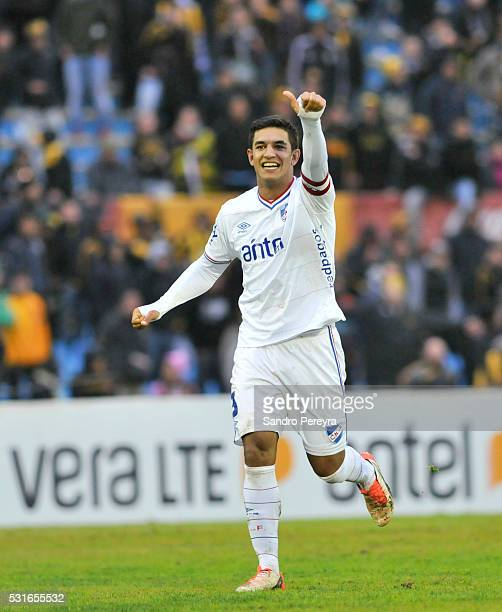 Diego Polenta of Nacional celebrates after scoring the second goal of his team during a match between Peñarol and Nacional as part of Torneo Clausura...