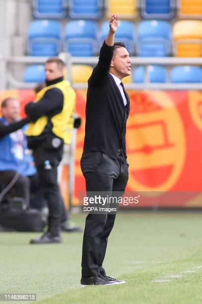 Diego Ramirez, head coach from Mexico seen in action during the FIFA U-20 World Cup match between Mexico and Japan in Gdynia. .