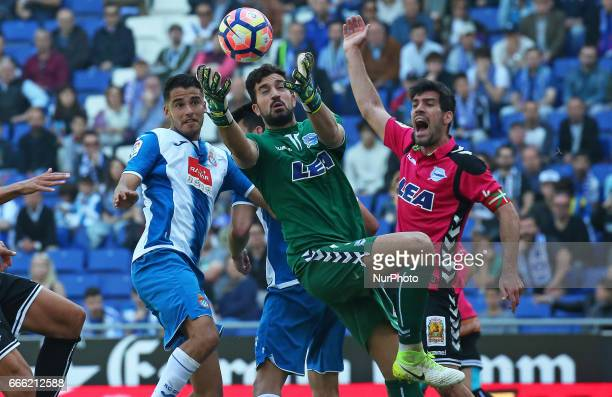 Diego Reyes and Pacheco during the match between RCD Espanyol and Deportivo Alaves on April 08 2017