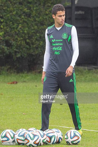 Diego Reyes looks on during a Mexico's National Team training session at O' Rei Pele Training Center on June 19 2014 in Santos Brazil