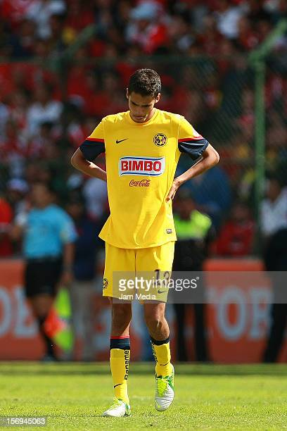 Diego Reyes of America reacts during a match between Toluca and America as part of the Apertura 2012 Liga MX at Nemesio Diez Stadium on November 25...