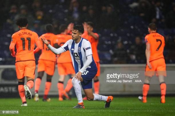 Diego Reyes of FC Porto reacts after conceding during the UEFA Champions League Round of 16 First Leg match between FC Porto and Liverpool at Estadio...
