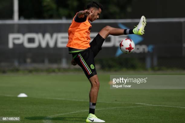 Diego Reyes of Mexico controls the ball during a training session at Centro Nacional de Desarrollo de Talento Deportivo y Alto Rendimiento on May 23...