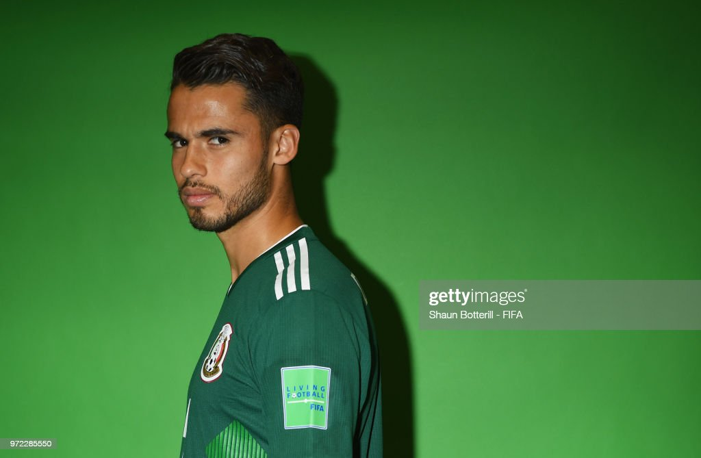 Diego Reyes of Mexico poses for a portrait during the official FIFA World Cup 2018 portrait session at the team hotel on June 12, 2018 in Moscow, Russia.