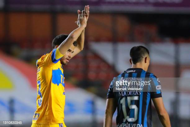 Diego Reyes of Tigres celebrates after scoring the first goal of his team during the 13th round match between Queretaro and Tigres UANL as part of...