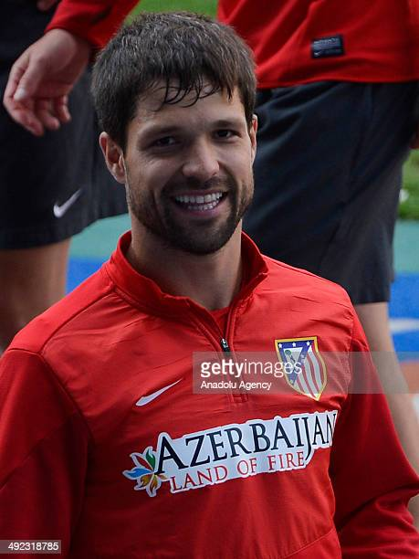 Diego Ribas attends the Spanish Atletico Madrid's training at home Vicente Calderon for the Champions League final on May 19 2014