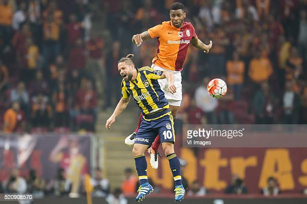 Diego Ribas da Cunha of Fenerbahce Ryan Donk of Galatasaray during the Super Lig match between Galatasaray and Fenerbahce on April 13 2016 at the...