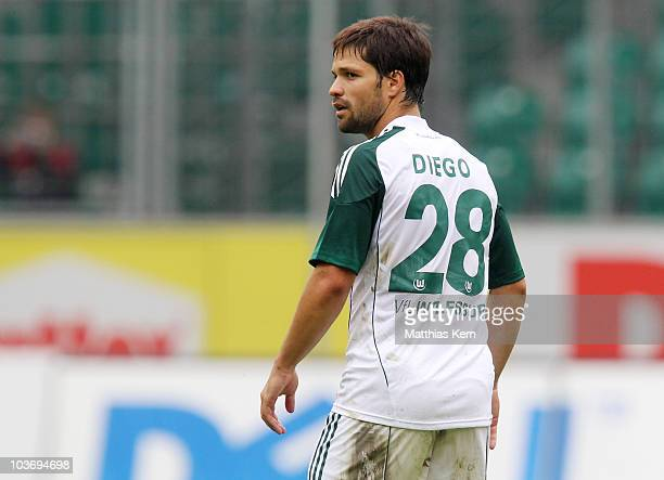 Diego Ribas da Cunha of Wolfsburg is seen during the Bundesliga match between VFL Wolfsburg and FSV Mainz 05 at Volkswagen Arena on August 28 2010 in...
