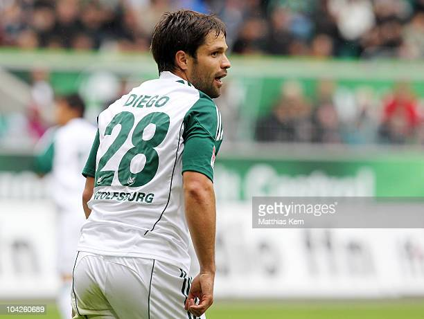 Diego Ribas da Cunha of Wolfsburg looks on during the Bundesliga match between VFL Wolfsburg and Hannover 96 at Volkswagen Arena on September 18 2010...