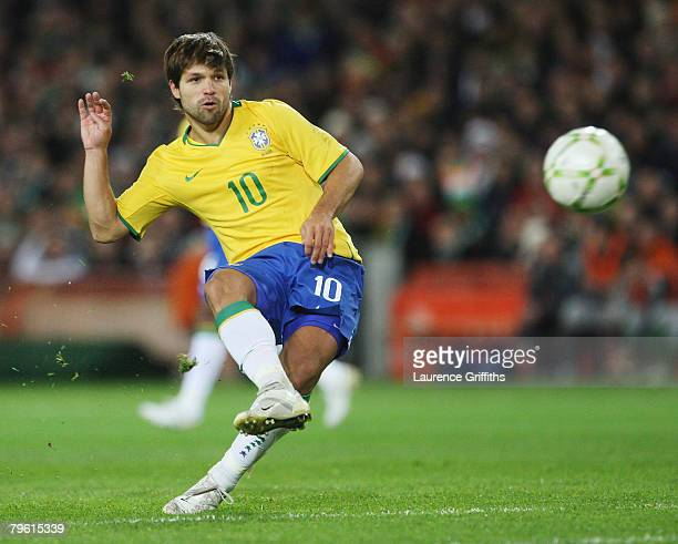 Diego Ribas of Brazil fires in a free kick during the International Friendly Match between Ireland and Brazil at Croke Park on February 6 2008 in...