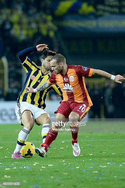 Diego Ribas of Fenerbahce and Wesley Sneijder of Galatasaray in action during the Turkish Spor Toto Super League derby game between Fenerbahce and...