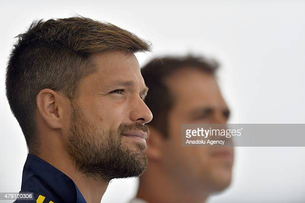 Diego Ribas of Fenerbahce attends a press conference after a training session for the new season at the Topuk Plateau Camp Facilities in Duzce Turkey...