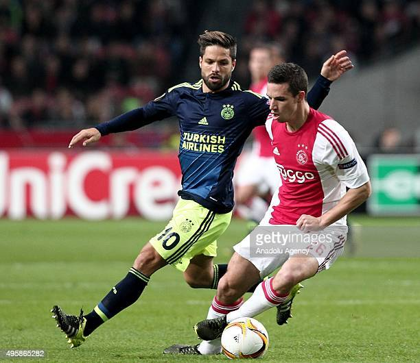 Diego Ribas of Fenerbahce in action during UEFA Europa League Group A match between Ajax and Fenerbahce at Amsterdam Arena Stadium in Amsterdam...