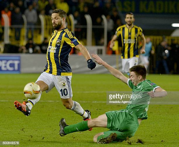 Diego Ribas of Fenerbahce vies for the ball with Kieran Tierney of Celtic during the UEFA Europa League Group A soccer match between Fenerbahce SK...