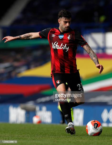 Diego Rico of AFC Bournemouth runs with the ball during the Premier League match between Everton FC and AFC Bournemouth at Goodison Park on July 26...