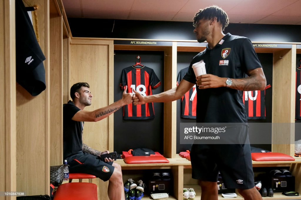 Diego Rico of Bournemouth in the home dressing room with Tyrone Mings before the pre-season friendly between AFC Bournemouth and Real Betis at Vitality Stadium on August 3, 2018 in Bournemouth, England.