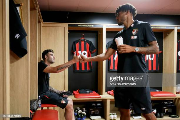 Diego Rico of Bournemouth in the home dressing room with Tyrone Mings before the preseason friendly between AFC Bournemouth and Real Betis at...