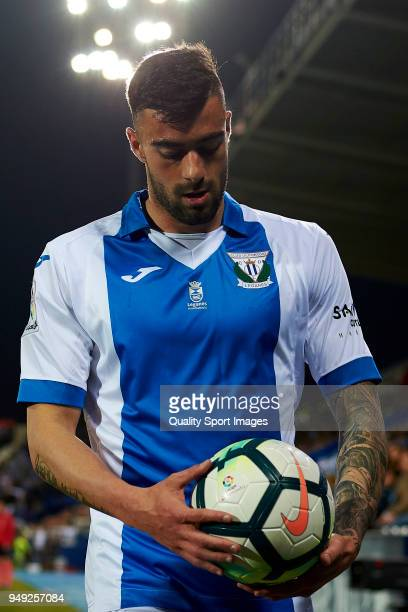 Diego Rico of Leganes looks the ball during the La Liga match between Leganes and Deportivo La Coruna at Estadio Municipal de Butarque on April 20...