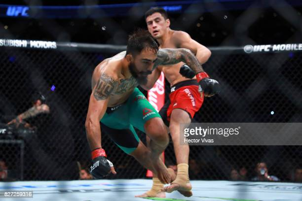 Diego Rivas punches Jose Quinonez during the UFC Fight Night Mexico City at Arena Ciudad de Mexico on August 05 2017 in Mexico City Mexico