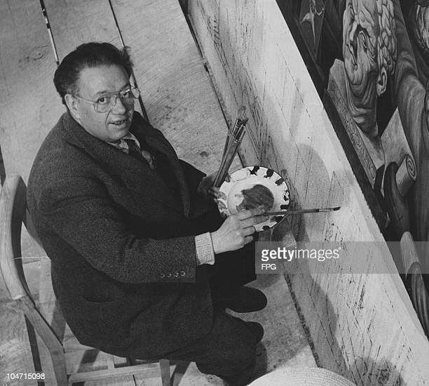 Diego Rivera Mexican artist finishing a mural in the lobby of the Cordiac Institute Mexico City Mexico circa 1930