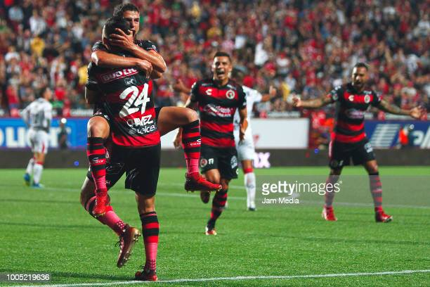 Diego Rivero of Tijuana celebrates after scoring the second goal of his team during the 1st round match between Tijuana and Chivas as part of the...