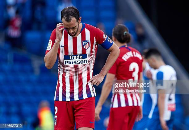 Diego Roberto Godin of Club Atletico de Madrid looks disappointed at the end of the match the La Liga match between RCD Espanyol and Club Atletico de...