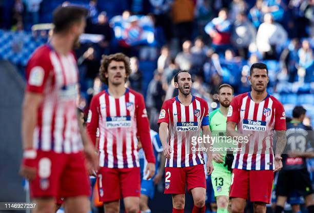 Diego Roberto Godin of Club Atletico de Madrid reacts at the end of the match the La Liga match between RCD Espanyol and Club Atletico de Madrid at...