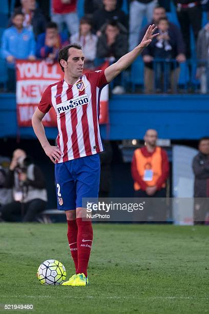 Diego Roberto Godn of Club Atletico de Madrid looks on during the La Liga match between Club Atletico de Madrid and Granada CF at Vicente Calderon...