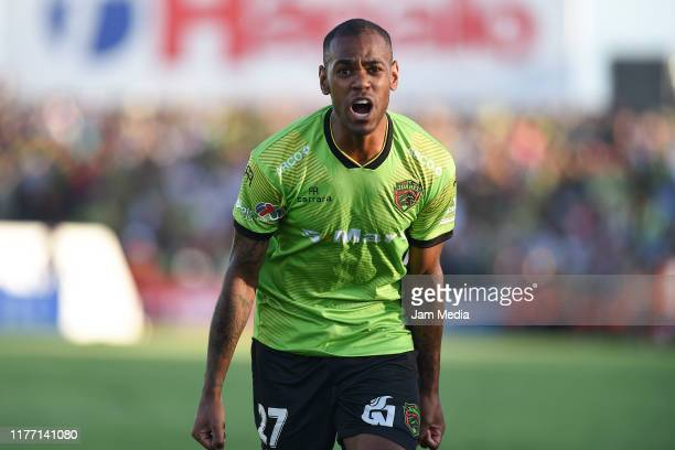 Diego Rolan of Juarez celebrates after scoring the first goal of his team during the 11th round match between FC Juarez and America as part of the...
