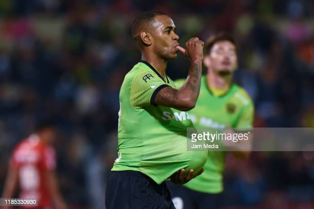 Diego Rolan of Juarez celebrates after scoring the first goal of his team by a penalty kick during the 17th round match between FC Juarez and Tijuana...