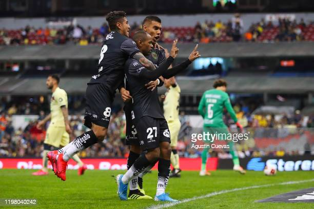 Diego Rolan of Juarez celebrates with his teammates after scoring the first goal of his team during the 4th round match between America and FC Juarez...