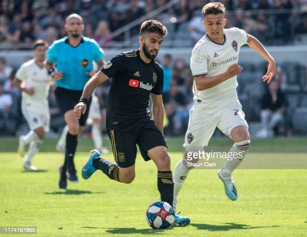 Diego Rossi of Los Angeles FC during Los Angeles FC's MLS match against Sporting Kansas City at the Banc of California Stadium on October 6 2019 in...