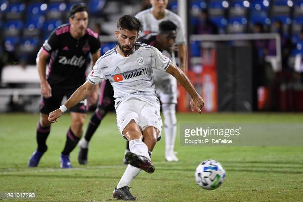Diego Rossi of Los Angeles FC scores his sides first goal from the penalty spot during a round of 16 match of the MLS is Back Tournament between...