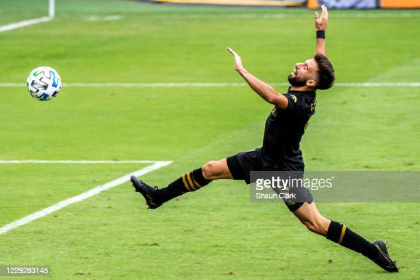 Diego Rossi of Los Angeles FC tried to catch the ball during the match against Los Angeles Galaxy at the Banc of California Stadium on October 25,...