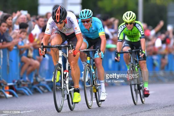 Diego Rubio of Spain and Team Burgos -BH / Nikita Stalnov of Kazakhstan and Astana Pro Team / Garikoitz Bravo of Spain and Team Euskadi - Murias /...