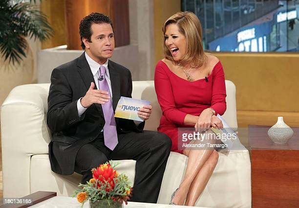 Diego Schoening and Ana Maria Canseco are seen on the set of Telemundo's Un Nuevo Dia at Telemundo Studio on September 9 2013 in Miami Florida