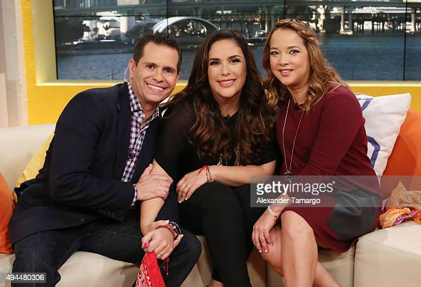 Diego Schoening Angelica Vale and Adamari Lopez are seen on the set of Un Nuevo Dia at Telemundo Studios on October 27 2015 in Miami Florida