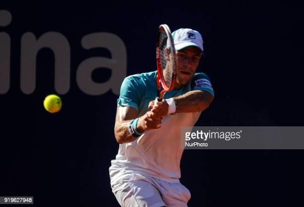 Diego Schwartzman during a tennis match against Aljaz Bedene at the Argentina Open Tennis Tournament in Buenos Aires on February 16 2018