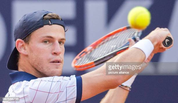 Diego Schwartzman from Argentina in action against Florian Mayer from Germany in the men's singles at the Tennis ATPTour German Open in Hamburg...