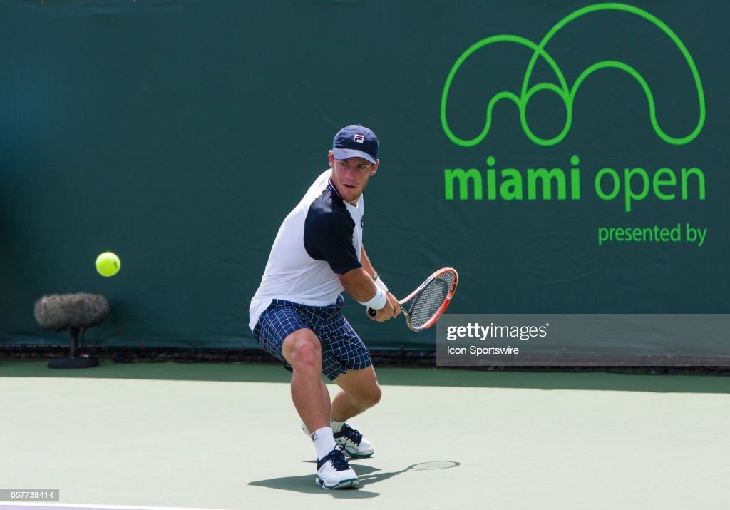 Diego Schwartzman (ARG) in action during the 2017 Miami Open in Key on March 25, 2017, at the Tennis Center at Crandon Park in Biscayne, FL.