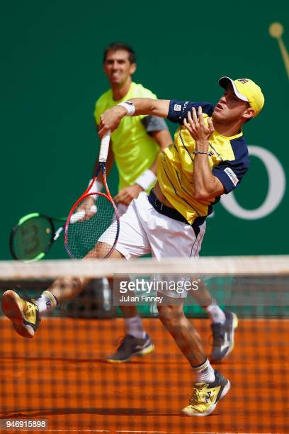 Diego Schwartzman of Argentina and Andres Molteni of Argentina in action in their doubles match against Alexander Zverev of Germany and Mischa Zverev...