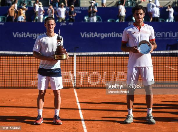 Diego Schwartzman of Argentina and Francisco Cerundolo of Argentina pose with the trophys after a Men's Singles Final match as part of day 7 of ATP...