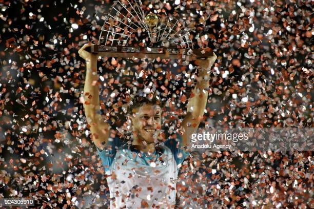 Diego Schwartzman of Argentina celebrates after winning Rio Open Tennis Tournament final match against Fernando Verdasco of Spain in Rio de Janeiro...