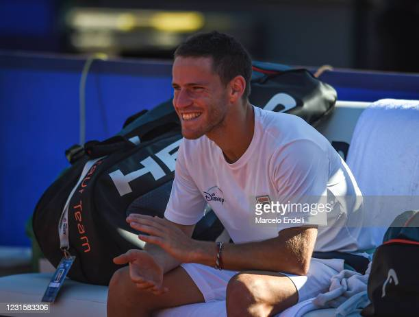 Diego Schwartzman of Argentina celebrates after winning the Men's Singles Final match against Francisco Cerundolo of Argentina as part of day 7 of...
